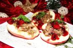 Pieczone jabłka faszerowane wątróbką muśniete karmelizowanymi wiśniami
